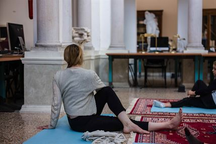 Vidya Gastaldon, Kashmir Yoga Practice at Salon Suisse on 11 May 2019 in Venice. Photo: Magali Le Mens.